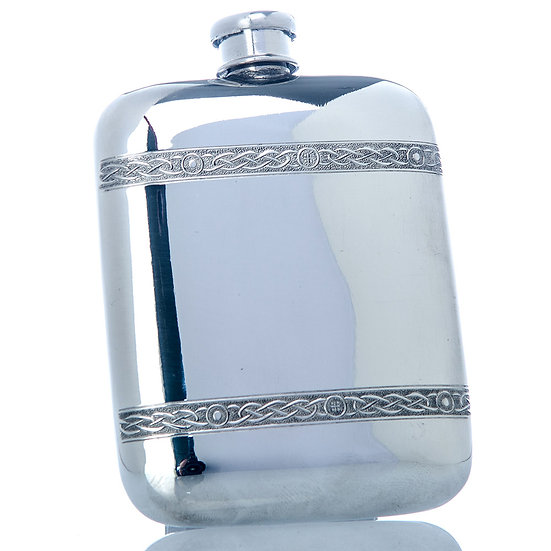 Pewter Hip Flask - Cushioned Celtic Band