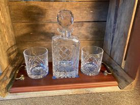 Decanter and Glass Decanter Set on Wooden Tray