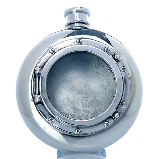 Pewter Hip Flask - 6oz Round with Port Hole Design