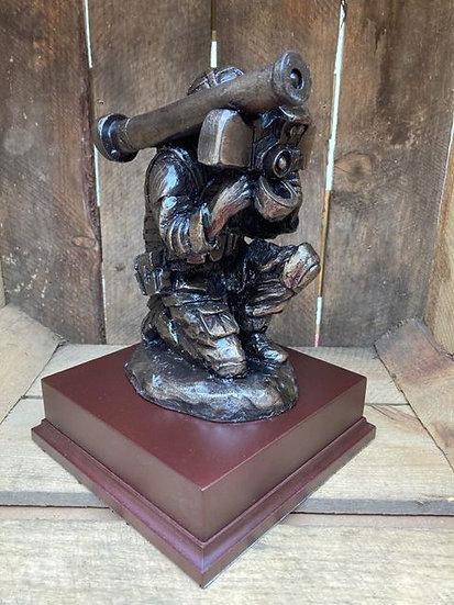 Javelin Operator Statue on Wooden Base