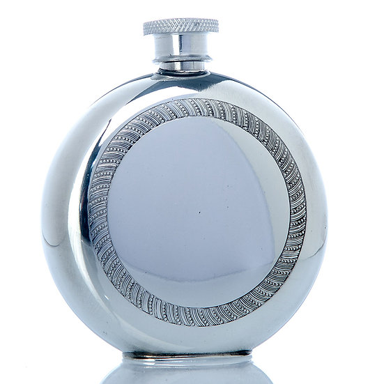 Pewter Hip Flask - 6oz Round with decorative Design