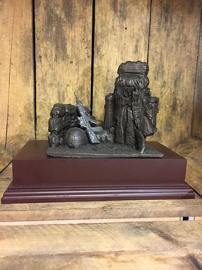 """""""After the day has gone"""" Scene Cold Cast Resin Statue on Wooden Base"""
