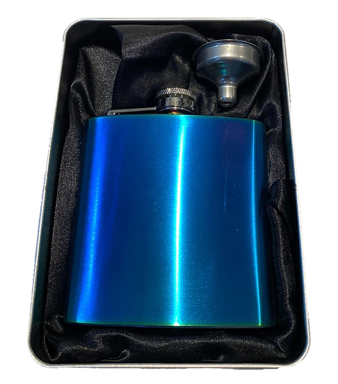 Hip Flask 6oz Rainbow with Funnel in Gift Tin