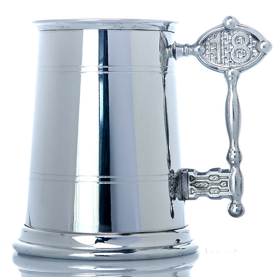 Pewter One Pint Tankard - 18th Handle
