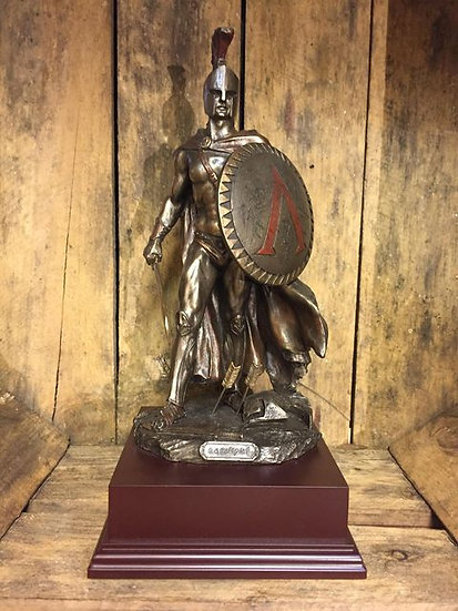 Spartan Warrior Soldier Cold Cast Resin Statue on Wooden Base