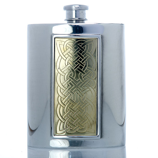 Pewter Hip Flask - 6oz with Brass Panel Design
