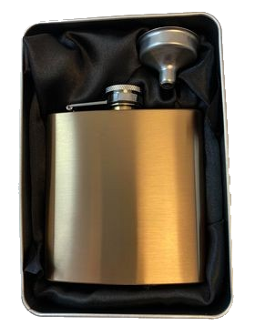 Hip Flask 6oz Rose with Funnel in Gift Tin