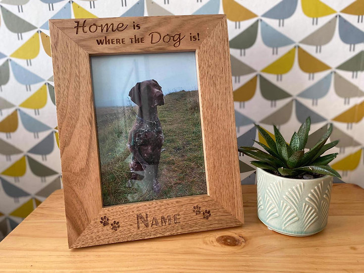 """Home is Where the Dog is"" Oak Picture Frame"