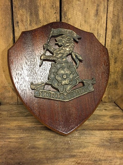 Yorkshire Regiment Cap Badge on Wooden Plaque
