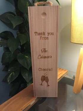 Wooden Bottle Carrier Gift Box (price includes engraving)