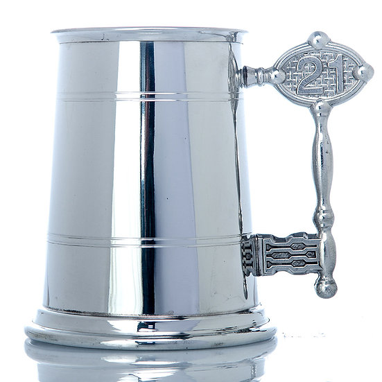Pewter One Pint Tankard - 21st Handle