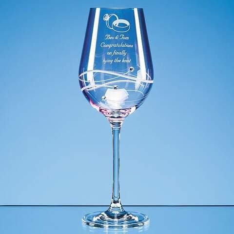 Pink Diamante Wine Glass with Spiral Design