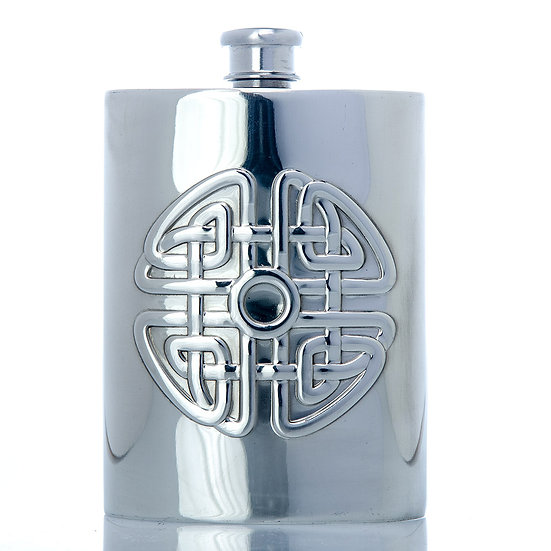 Pewter Hip Flask - 6oz with Celtic Design