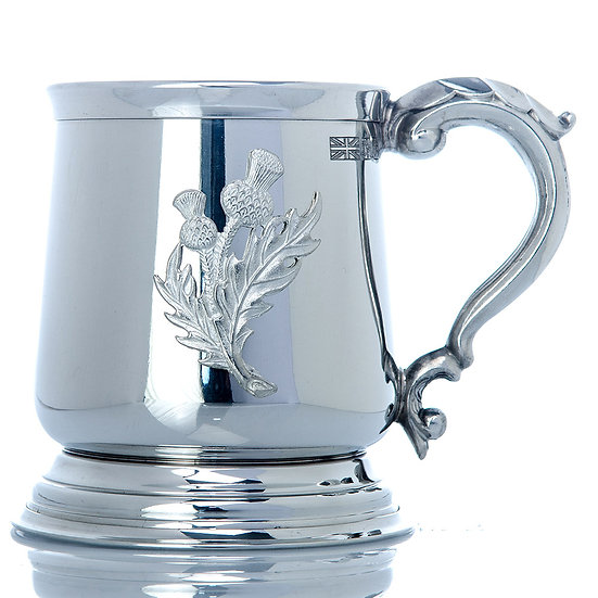 Pewter One Pint Heavy Tankard - Thistle