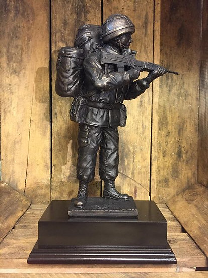 Standing Soldier Cold Cast Resin Statue on Wooden Base