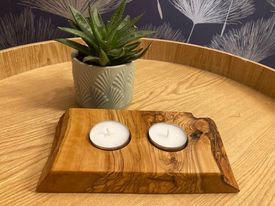 Olive Wood Hand Crafted Tealight Holder (2)