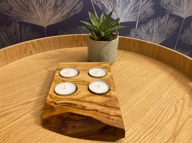 Olive Wood Hand Crafted Tealight Holder (4)