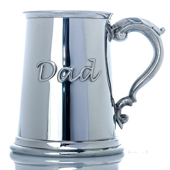 Pewter one pint Dad tankard
