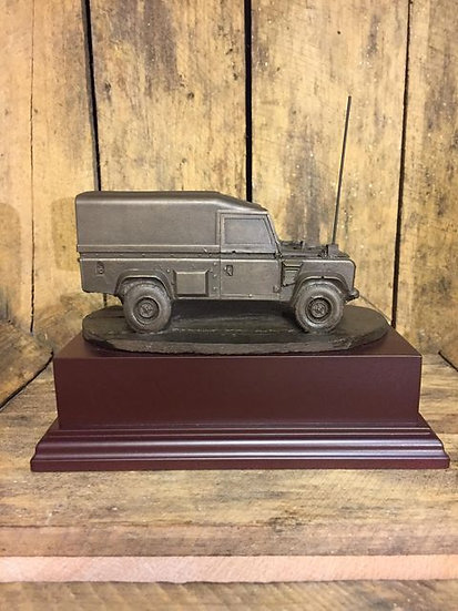Land Rover Cold Cast Resin Statue on Wooden Base