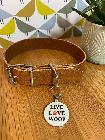 """Live Life Woof"" 30mm Pet Tag"