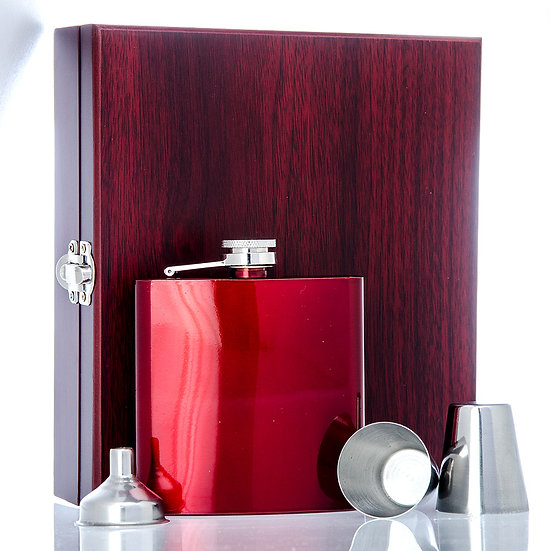 Stainless Steel 6oz HipFlask with Cups & Funnel in Wooden Display Box