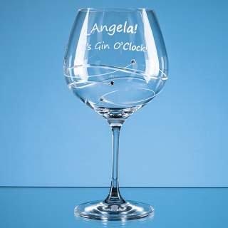 Gin Glass Spiral Diamante Design