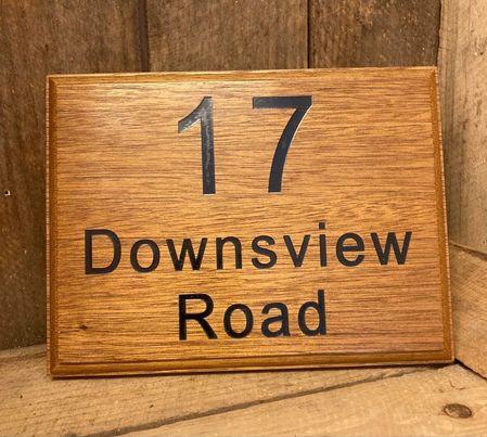 Light Oak Wooden House Sign