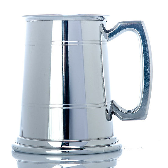Pewter one pint two line tankard