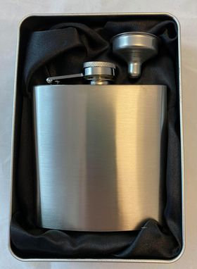 Hip Flask 6oz Brushed Chrome with Funnel in Gift Tin