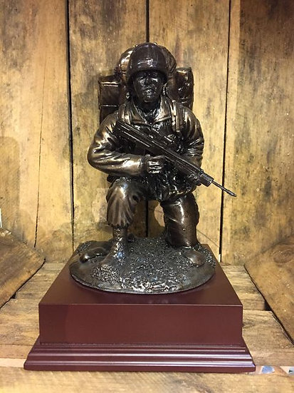 Kneeling Soldier Cold Cast Resin Statue on Wooden Base