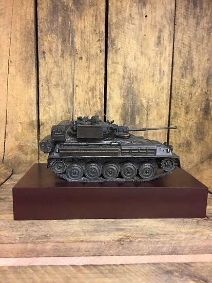 FV107 Scimitar Cold Cast Resin Statue on Wooden Base