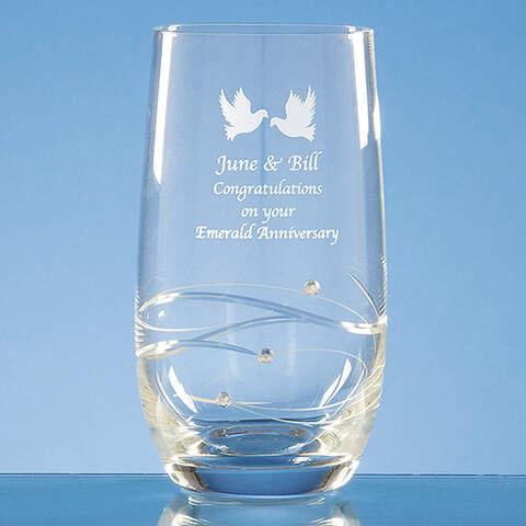 Diamante Spiral Design High Ball Glass