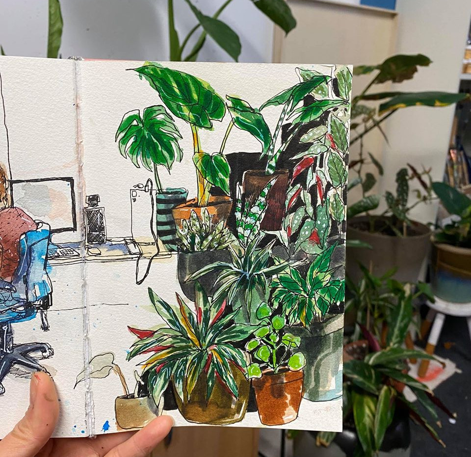 Urban sketching at home