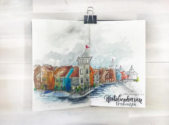 Urban sketching ReitdiepHaven Groningen
