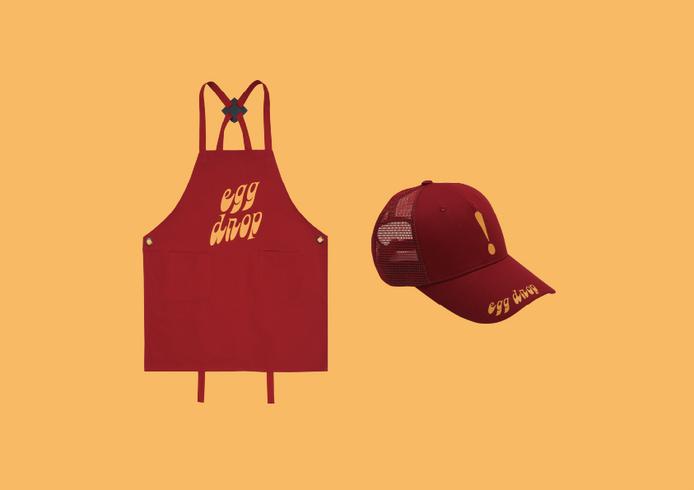 에그드랍 앞치마&모자