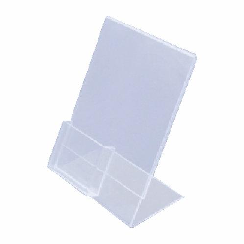 Acrílico em L Porta Folha com Porta Cartão A5