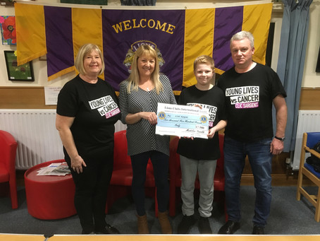 Presented cheque to CLIC Sargent