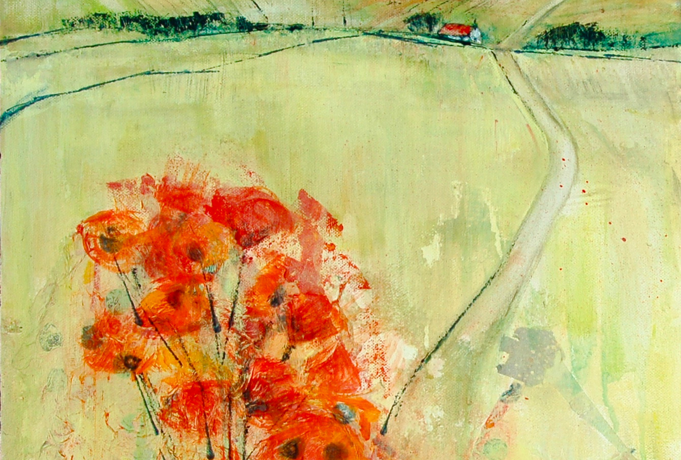 Poppies and a Red Roof