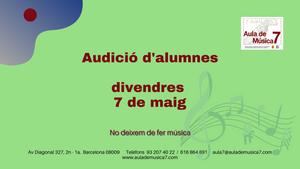 Audició d'alumnes: divendres 7 de maig