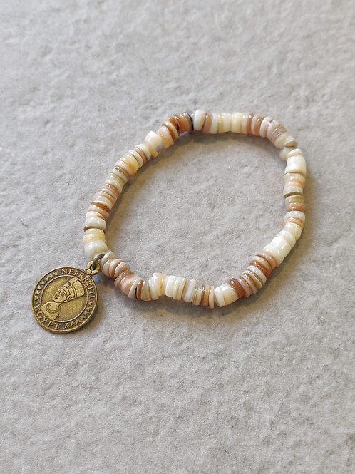 Nefertiti Coin Shell Bracelet