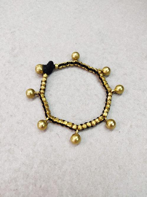 Black Beaded Brass Ball Bracelet