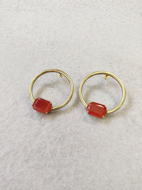 Brass Octagon Hoops