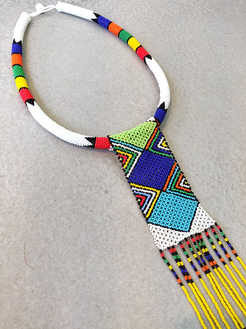 African Zulu Choker Necklace With Fringe