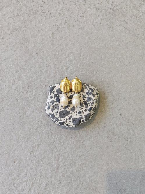 Pearl Scarab Earrings