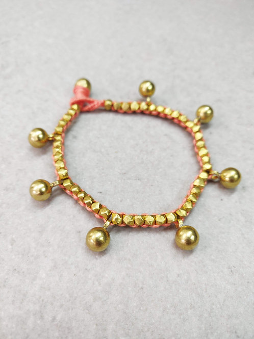 Salmon Pink Beaded Brass Ball Bracelet