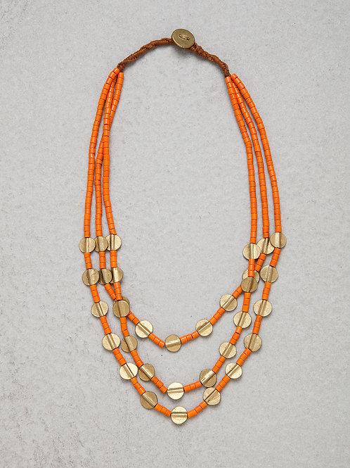 Brass Orange Naga Necklace