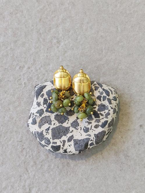 Jade Scarab Earrings