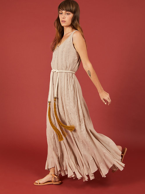 Khaki Multikali Long Dress
