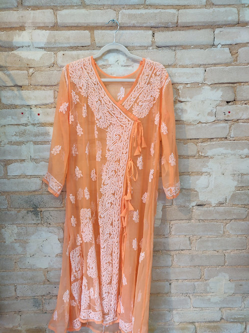Peach Embroidered kurta