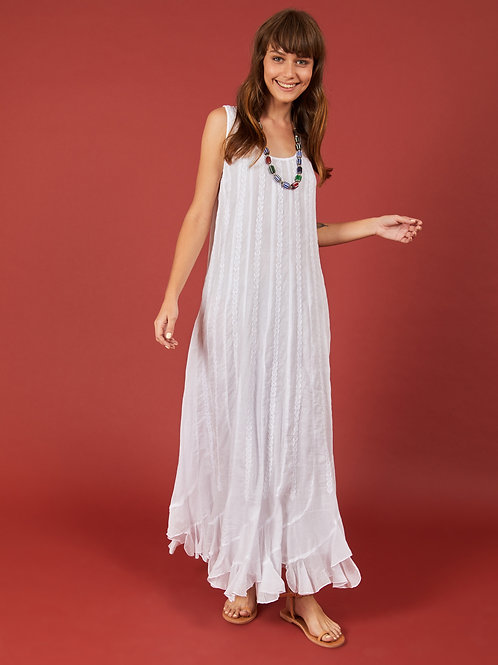 White Multikali Long Dress